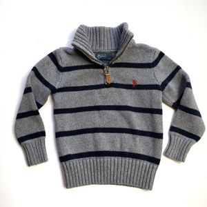 Polo Ralph Lauren boy sweater size 4T grey navy bl